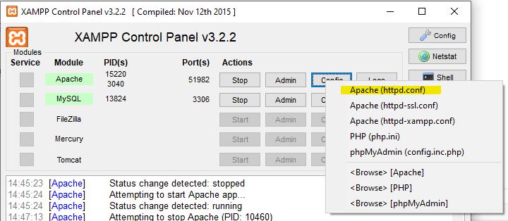Accede al fichero C:\xampp\apache\conf\httpd.conf